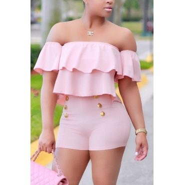 Sexy Bateau Neck Short Sleeves Falbala Design Pink Polyester Two-piece Pants Set