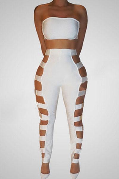 Sexy Hollow-out branco saudável tecido de duas peças calças Set