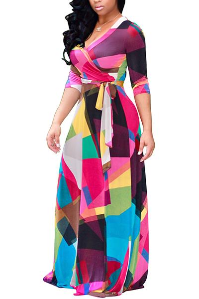 Euramerican cuello en V tres mangas de cuarto de impresión digital de impresión de tela sana vestido de longitud del piso
