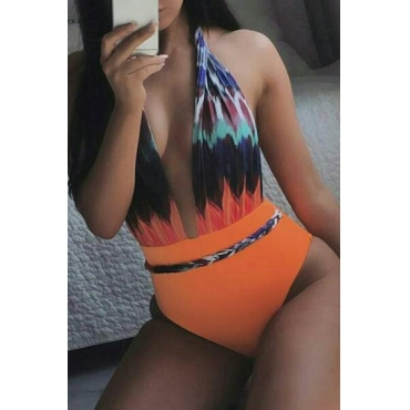 Euramerican Deep V Neck Printed Patchwork One-piece Swimwear
