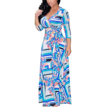 Euramerican V Neck Three Quarter Sleeves Digital Printing Light Blue Healthy Fabric Floor Length Dress
