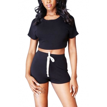 Leisure Round Neck Short Sleeves Hollow-out Black Polyester Two-piece Shorts Set