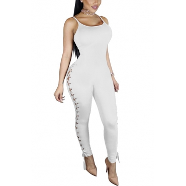 Sexy U-shaped Neck Sleeveless Hollow-out White Knitting One-piece Skinny Jumpsuits