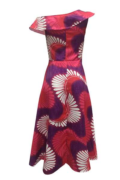 Ethnic Style Bateau Neck One Shoulder Short Sleeves Totem Printed Polyester Ankle Length Dress