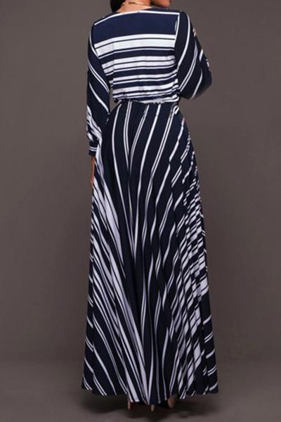 Elegante V Neck mangas compridas listradas Milk Fibra Pavimento Comprimento Vestido