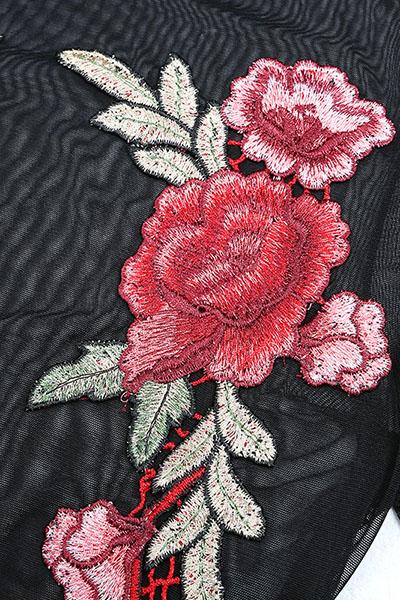 Sexy cuello redondo manga corta See-Through Negro Polyester T-shirt