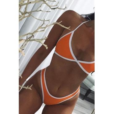 Euramerican laranja-branco patchwork algodão misturas de duas peças Swimwear