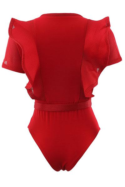 Sexy Redonda pescoço curto mangas See-Through Red Polyester Mono Skinny Jumpsuits