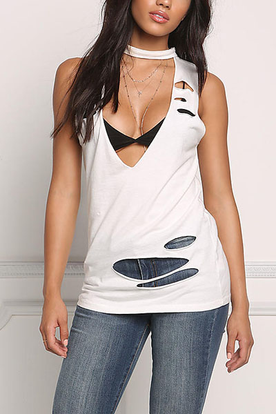 Sexy V Pescoço sem mangas Hollow-out branco poliéster T-shirt