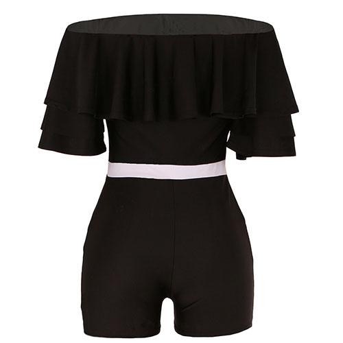 Moda Dew hombro falbala diseño negro que hace punto de una sola pieza Skinny Jumpsuits