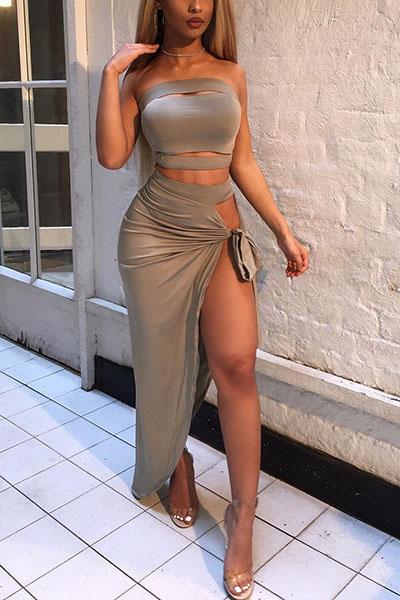 Sexy Bateau Neck Sleeveless Asymmetrical Grey Qmilch Two-piece Skirt Set