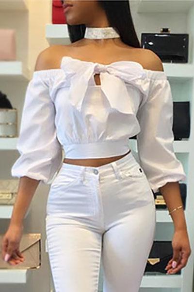 Elegante mangas largas del cuello del barco de lazo-Lazo Camisas de algodón blancas decorativas (sin el ahogador)