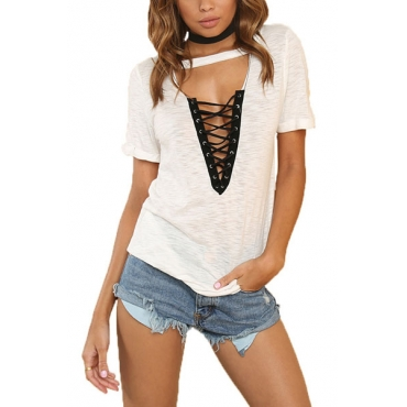 Pullovers Cotton V Neck Short Sleeve Solid T-shirt