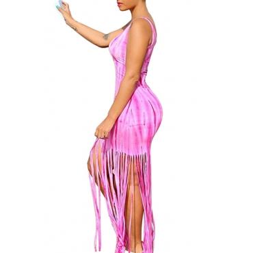 Euramerican Round Neck Sleeveless Tassel Design Pink Milk Fiber Sheath Ankle Length Dress