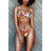Sexy Euramerican Halter Neck Printed Hollow-out Gold Polyester Two-piece Swimwear