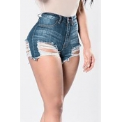 Sexy High Waist Hollow-out Dark Blue Denim Skinny