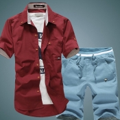Leisure Turndown Collar Short Sleeves Single-breasted Wine Red Cotton Blends Shirts