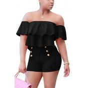 Charming Boat Neck Short Sleeves Falbala Design Black Healthy Fabric One-piece Skinny JumpsuitsHealthy Fabric Solid Skinny Jumpsuits