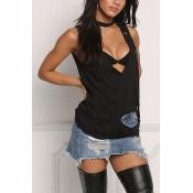 Sexy V Шея рукавов полые из черного полиэстера футболку
