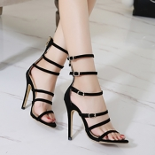 Stylish Pointed Peep Toe Hollow-out Stiletto Super High Heel Black PU Gladiator Sandals