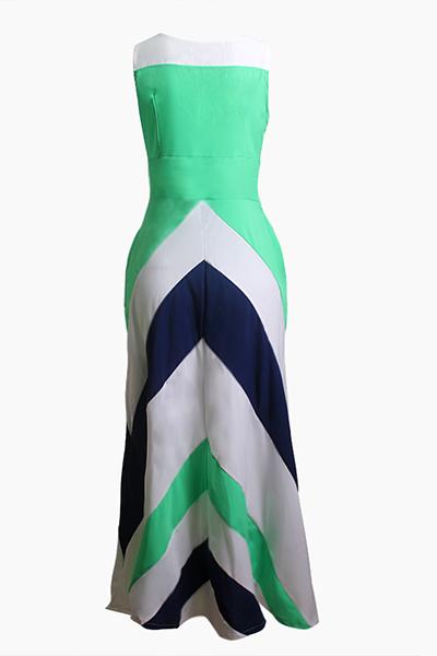 Богемский V образным вырезом без рукавов полосатой Печатный Синий Полиэстер голеностопного Длина платья
