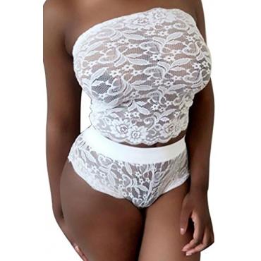 сексуальное платье без бретелек лоскутное полым из белого кружева из двух частей шорты комплект