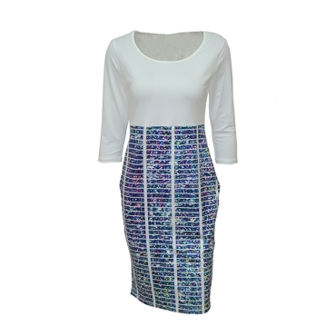 Stylish Round Neck Three Quarter Sleeves Printed Patchwork Blue Polyester Sheath Knee Length Dress