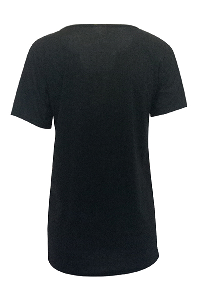 Euramerican cuello en V manga corta impreso vestido de poliéster negro mini