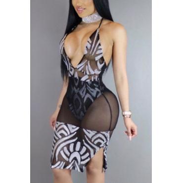 Sexy V cuello espaguetis correa sin mangas ver-a través de gasa negro vaina vestido de longitud de la rodilla
