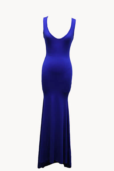 Robe sexy en forme de U sans manches en coton bleu