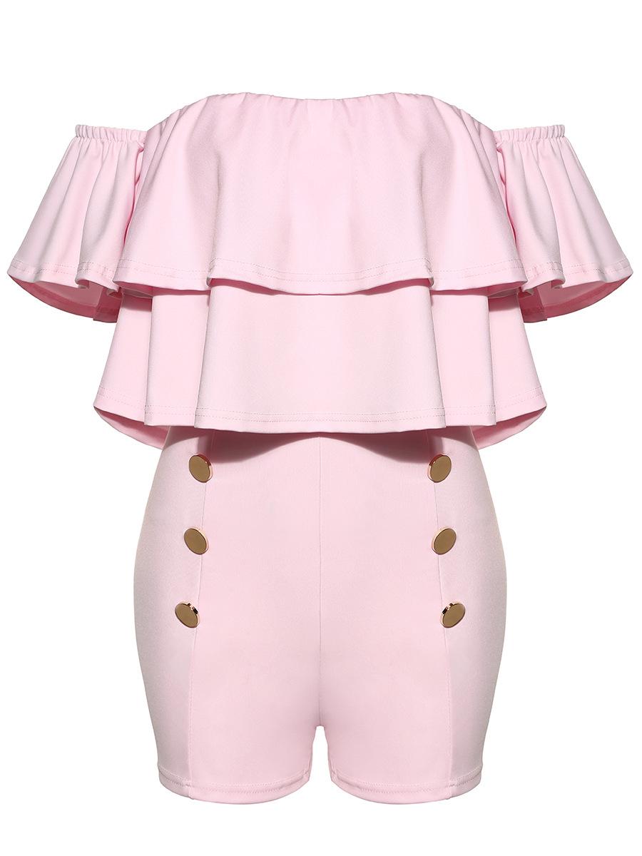 Очаровательная лодка шеи с короткими рукавами Falbala дизайн розовый здоровой ткани цельный Тощий комбинезоны