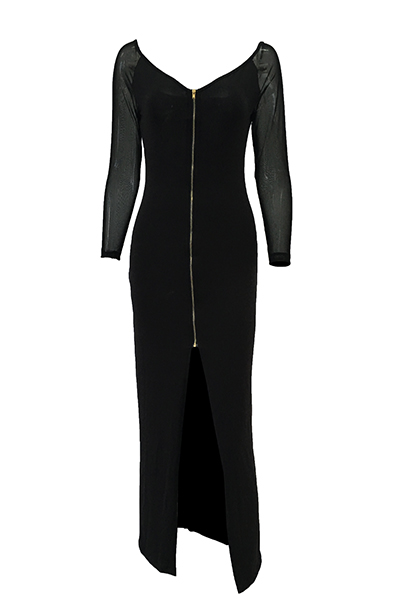 Trendy V Neck Long Sleeves Gauze Patchwork Black Polyester Sheath Ankle Length Dress