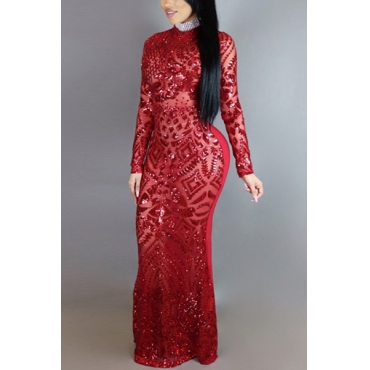 Charming Round Neck Long Sleeves Sequins Decoration Red Milk Fiber Sheath Ankle Length Dress