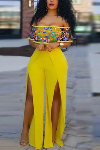 Maglie maniche corte del collo di Bateau elegante Giallo giallo giallo diviso giallo tessuto