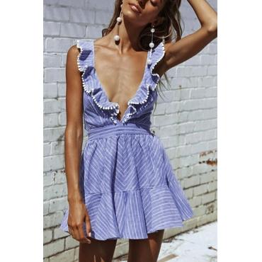 Cotton Blend Sexy V Neck Sleeveless Mini Dresses