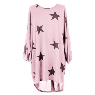 Casual Round Neck Three Quarter Sleeves Five-pointed Star Printing Pink Polyester Mini Dress