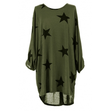Casual Round Neck Three Quarter Sleeves Five-pointed Star Printing Green Polyester Mini Dress
