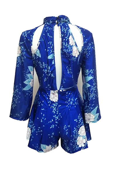 Sexy Round Neck Printed Hollow-out Blue Polyester One-piece Jumpsuits