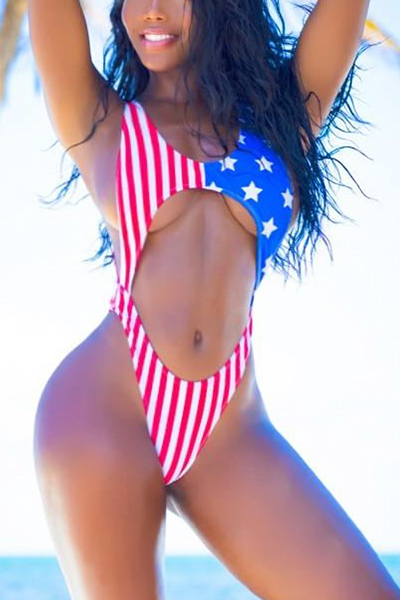 Sexy American Flag Printed Backless Red Polyester One-piece Swimwear