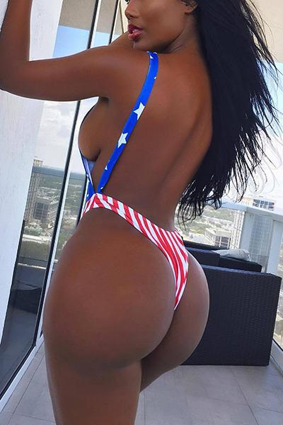 Sexy American Flag Impreso Backless Poliéster rojo de una pieza de baño
