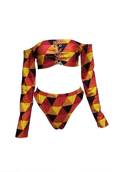 Купальный костюм из полиэфира с вышивкой Euramerican Lace-up