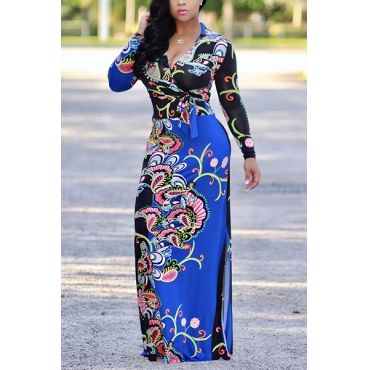 Euramerican V Neck Long Sleeves Floral Print Blue Healthy Fabric Floor Length Dress