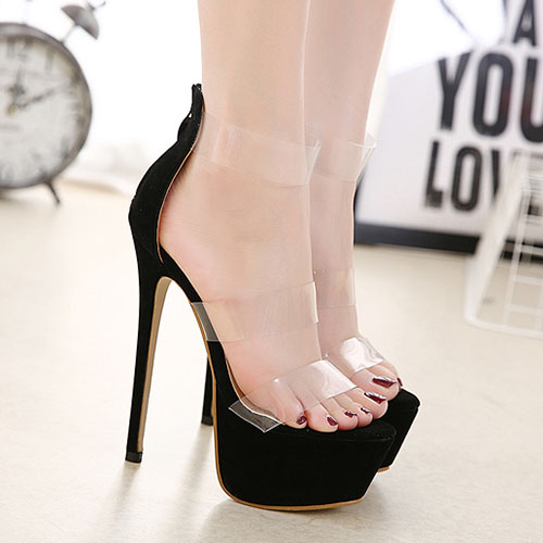 Stylish Round Peep Toe Hollow-out Stiletto Super High Heel Black Plastic Sandals