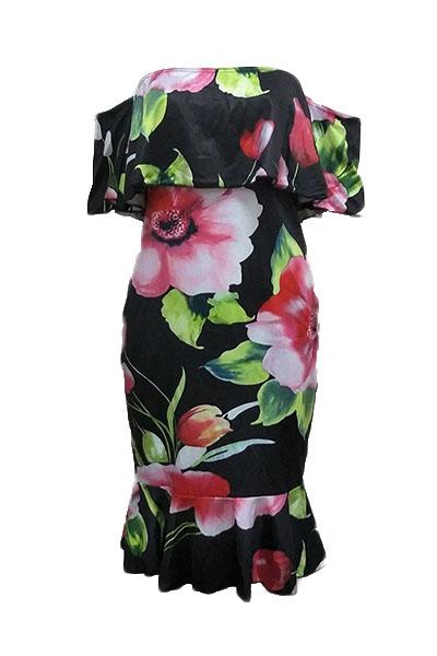 Charming Dew Shoulder Floral Print Healthy Fabric Sheath Knee Length Dress