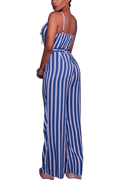 Sexy V Neck cintas de espaguete sem mangas Striped Dark Blue tecido saudável macacão de uma peça