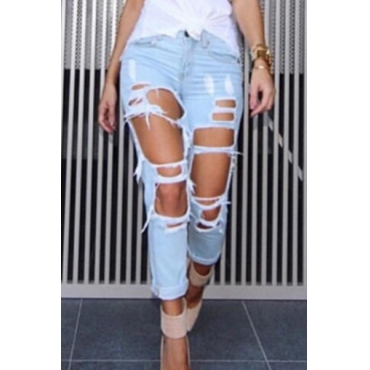 Stylish High Waist Broken Holes Light Blue Denim Jeans