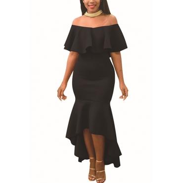 Encantador Dew Shoulder Falbala Design Black Polyester Ankle Length Dress