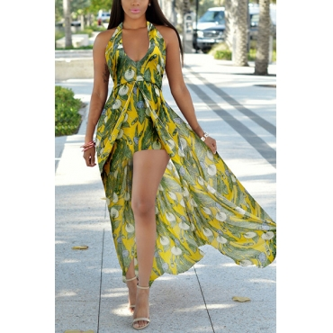 Stylish V Neck Sleeveless Printed Green Chiffon One-piece Skinny Jumpsuits