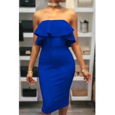Encantador Dew Shoulder Falbala Design Azul Algodão Com bainha Comprimento Comprimento Vestido