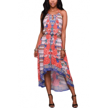 Sexy Round Neck Printed Backless Polyester Mid Calf Dress